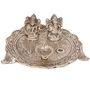 White Metal Lord Laxmi Ganesh With Dia Thali- DLI3HCF317