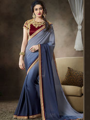 Nanda Silk Mills Latest Ethnic Pure Satin Georgette Gray Color Saree Designer Party Wear Saree_Vr-1907