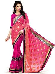 Nanda Silk Mills Multicolor Georgette Embroidered Saree With Blouse Piece_Enigma-4807