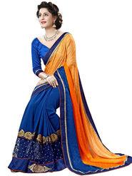 Nanda Silk Mills Orange Georgette Embroidered Saree with Blouse_Adiction-4609