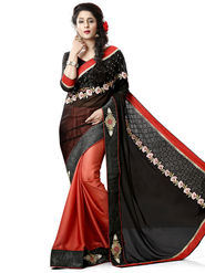 Nanda Silk Mills Black Georgette Embroidered Saree with Blouse_Adiction-4605