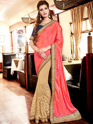 Indian Women Embroidered Pink and Beige Silk Saree -MG12402