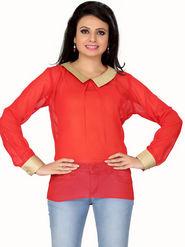 Ishin Georgette Solid Ladies Top - Orange_INDWT-142