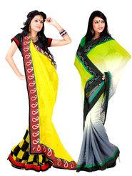 Pack of 2 Zoom Fabrics Embroidered Chiffon Saree_2712-B,2716-A