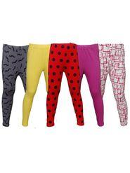 Pack of 5 Little Star Girl's Multicolor Leggings - PO5L_128