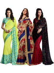 Pack of 3 Shonaya Printed Sarees - 3L-COMBO