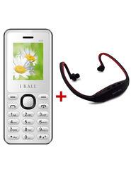 Combo of I Kall K66 1.8 Inch Dual Sim Mobile (White) + Neckband for Music