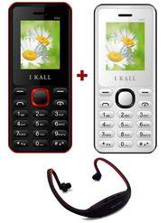 Combo of I Kall K66 1.8 Inch Dual Sim Mobile (Black & White) + Neckband for Music