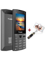 Ziox Zelfie Dual SIM Dual Flash Camera Feature Phone (Gray) With Foldable Pocket Friendly Selfie Stick (Color Assorted)