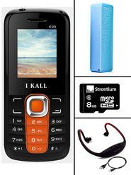 Combo of I Kall K99 1.8 inch Dual Sim Mobile (Black & Orange) + Neckband + 8 GB Memory Card + 2600mAh USB Powerbank Portable Charger for Mobile P1 - Blue