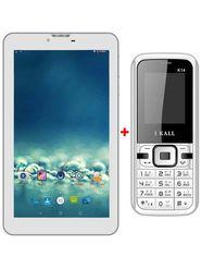 Combo of  I Kall N8 Kitkat 3G Calling Tablet - White + I Kall K14  Dual SIM Mobile Phone -Black