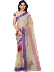 Viva N Diva Plain Banarasi Silk Beige Saree -vs09