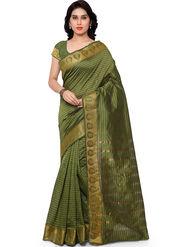 Viva N Diva Plain Banarasi Silk Green Saree -vs13