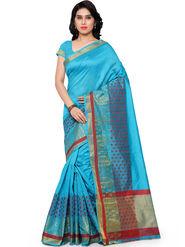 Viva N Diva Plain Banarasi Silk Blue Saree -vs15