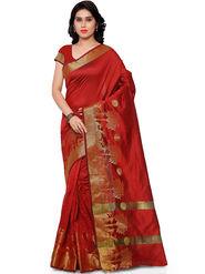 Viva N Diva Plain Banarasi Silk Red Saree -vs19