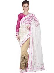 Designersareez Jacquard Net Embroidered Saree -1828