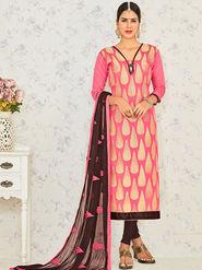 Viva N Diva Embroidered Banarasi Jacquard Peach Unstitched Dress Material -19195-Jivika