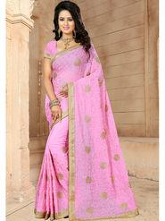 Viva N Diva Embroidered Georgette Pink Saree -19262-Drishya