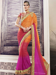 Viva N Diva Embroidered Chiffon Pink & Orange Saree -19419-Rukmini-03