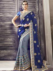 Viva N Diva Embroidered Georgette Blue & Grey Saree -19427-Rukmini-03
