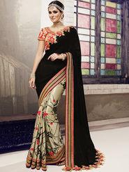 Viva N Diva Embroidered Georgette Satin Chiffon Black & Beige Saree -19435-Rukmini-03