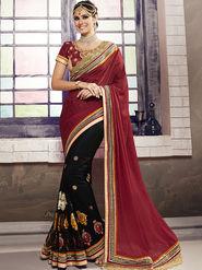 Viva N Diva Embroidered Chiffon Georgette Red & Black Saree -19436-Rukmini-03