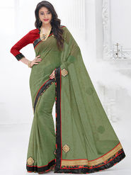 Indian Women Embroidered Georgette Lime Green Designer Saree -GA20325