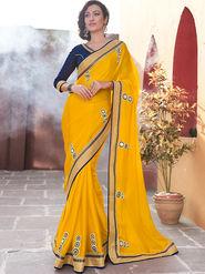Indian Women Embroidered Satin Chiffon Yellow Designer Saree -GA20353