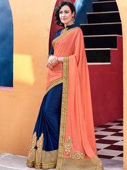 Indian Women Embroidered Satin Chiffon Orange and Violet Designer Saree -GA20368