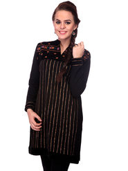 Lavennder Designer Black Printed Woolen Kurti -21001