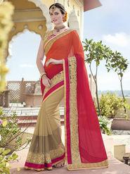 Indian Women Embroidered Chiffon Orange and Beige Designer Saree -RA21064