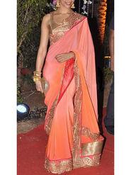 Ethnic Trend Embroidered Silk Saree - Peach