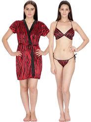 Set of 2 Klamotten Printed Saiin Bikini Set and Robe-28M6-11M6