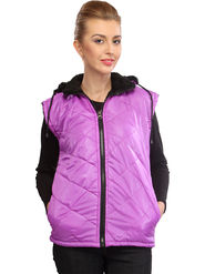 Lavennder Pink Solid PU Jackets With Hood - 41027