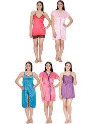 Set of 5 Klamotten Solid Satin Nightwear-41T-04L