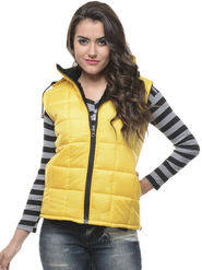 Lavennder Yellow Solid PU Jackets With Hood - 5822