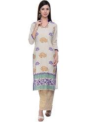 Lavennder Khaadi Off white Long Straight Kurta -623555