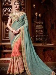 Indian Women Plain Chiffon Cyan & Orange Designer Saree-Ht71101