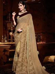 Indian Women Embroidered Net Golden Designer Saree-Ht71102