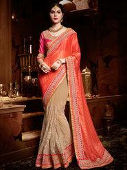 Indian Women Embroidered Georgette Orange & Beige Designer Saree-Ht71106