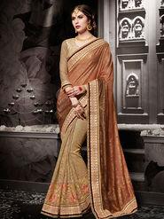 Indian Women Embroidered Silk Brown & Beige Designer Saree-Ht71107