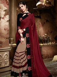 Indian Women Embroidered Georgette Maroon & Cream Designer Saree-Ht71111