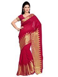 Admyrin Printed Chanderi Red Saree -Snh-10008