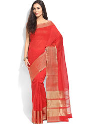 Admyrin Printed Cotton Red Saree -Snh2-10028