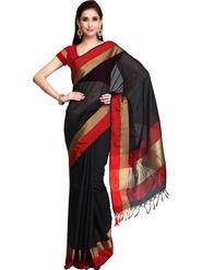 Admyrin Printed Chanderi Black Saree -Snh3-10060