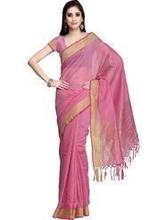 Admyrin Printed Chanderi Pink Saree -Snh3-10063