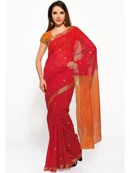 Admyrin Printed Cotton Red & Orange Saree -Snh4-10115