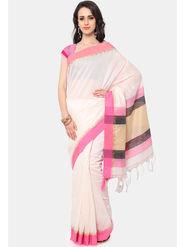 Admyrin Printed Chanderi Cotton Off white & Pink Saree -Snh6-10123