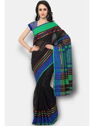 Admyrin Printed Chanderi Black Saree -Snh6-10125