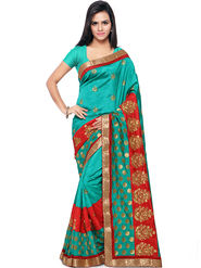 Nanda Silk Mills Embroidered Art Silk Green Saree -am03
